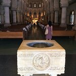 Admire the interior from the stone font