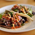 Grilled hanger steak soft tacos, sriracha mayo