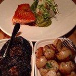 Grilled salmon & sushi rice (background); side dishes of roasted mushrooms (L) & sautéed potatoe
