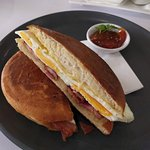 Foccaccia roll with cheese and egg and bacon