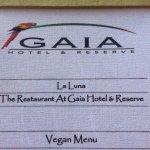 Vegan menu!