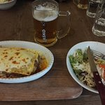 Lasagne, salad and beer. They got also good desserts.