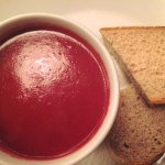 Beetroot & goats cheese soup