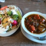 My salad and Beef Vegetable Soup from the salad bar. 4/20/17