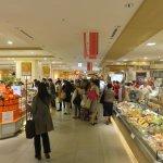 busy shopping center at basement of Hakata station
