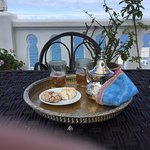 Our welcome tea and sweets, on the sun deck.