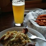 Sweet potato fries and a portion of Octoberfest meal.
