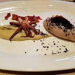 Monterey squid stuffed with artichoke & lobster; bell pepper confit, squid ink crust (supper clu