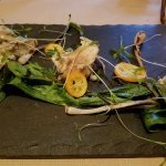 Artichokes 3 ways, ramps, kumquats, and cilantro sprouts. Monday Night Supper Club artichoke the