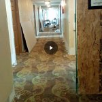 Current carpet throughout the hotel, open access to all levels which have construction going on