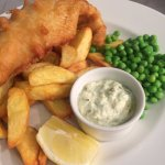 Battered Fish & Hand Cut Chips with garden peas
