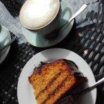 Tasty Jaffa Cake and Latte Macchiato