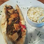 Scallop Cheesesteak with Mac-N-Cheese - YUMMY!!!