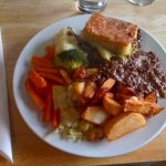 Leek pie, mince, mash, chips and veg