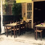 The entrance of our restaurant, where you can enjoy a tastefull meal chilling in the sun
