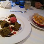 pistachio cake and yogurt panna cotta