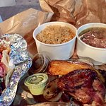 Yucatan spice quarter( chicken) plate with charro beans and Spanish rice and La Mari (shrimp) ta