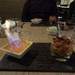 Dessert : crème brûlée et mousse au chocolat