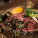 Sumac crusted pasture raised ribeye, beef fat sautéed ramps, pickled morels, slow cooked egg yol