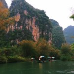 Bamboo raft in the fain