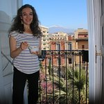Enjoying my morning muesli while looking out at Mt Etna from the kitchen window.