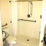 Huge walk-in shower with central shower head/wand (handicap King room).