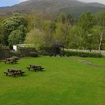 Hotel garden with a great view of Slieve Foye in the backround