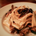 fresh pappardelle with truffle and mushrooms