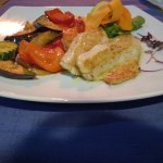Grilled sea bass and vegetables