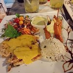 Best Grilled Chicken with mustard sauce. Rice. Salad with raifort dressing.