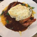 Shrimp and Cheese Grits with Fried Egg. Soooo good!