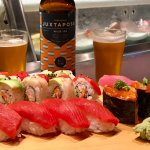 Assorted sushi with craft beer
