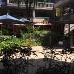 Beautiful courtyard in the middle of the Wharf center