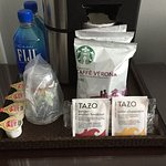 Starbucks coffee service; complimentary bottled water