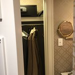 Closet is in the bathroom; comfy bathrobes, safe; great shaving mirror!