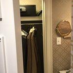 Closet is in the bathroom; comfy bathrobes, safe; great shaving mirror!