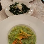 gnochetti with zucchini flower sauce; spinach with butter and parmesan; Ricotta ravioli