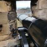 Looking out a cannon port towards Calton Hill