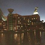 Hotel from boardwalk at night