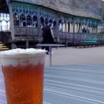 Drinking butterbeer while watching the bridge set.