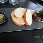 Complementary bread, oil, balsamic and dukkah