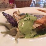 Sea bass with asparagus puree and artichokes