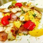 Chicken Kabob on Greek rice