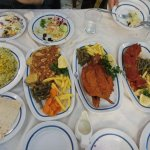 there is fried trout fish, lamb and egg omelet Iranian style