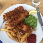 Beer battered fish and chips at The Rising Sun