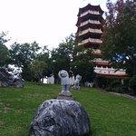 Looking up at the pagoda.