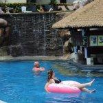 pool bar and waterfall