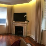 fireplace, automatic shade, automatic blackout shades