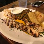 Chicken Souvlaki Platter w Greek Potatoes & Fasolakia