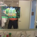 A Television set embedded into the bathroom mirror!